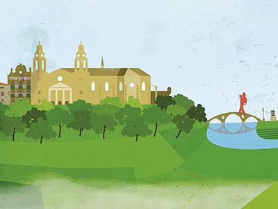 Ilustración animada del Camino de Santiago